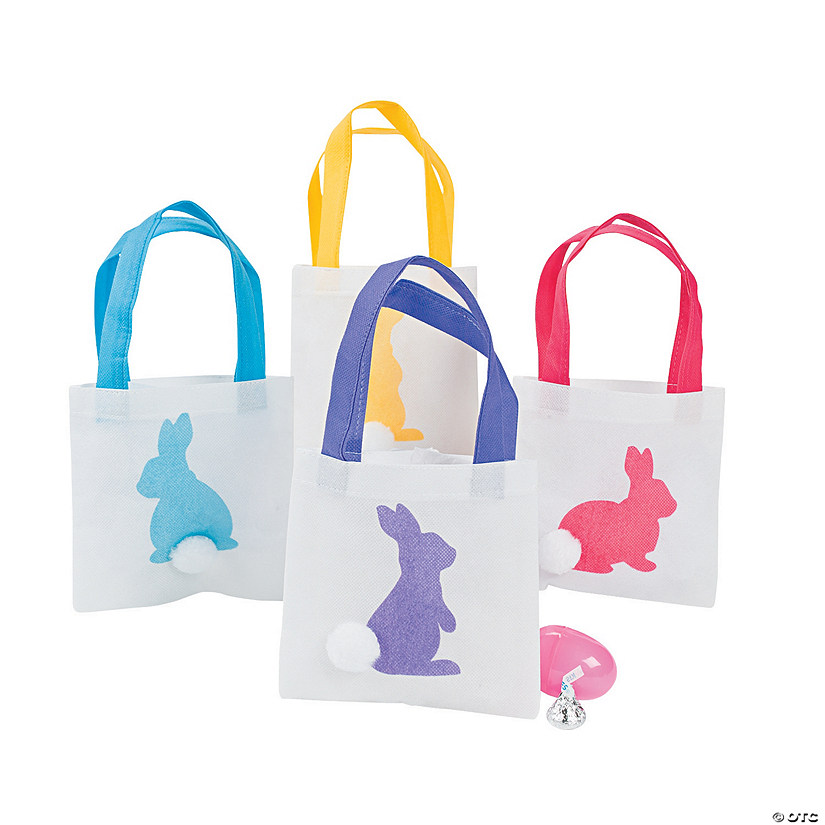 Mini Easter Bunny Silhouette Tote Bags