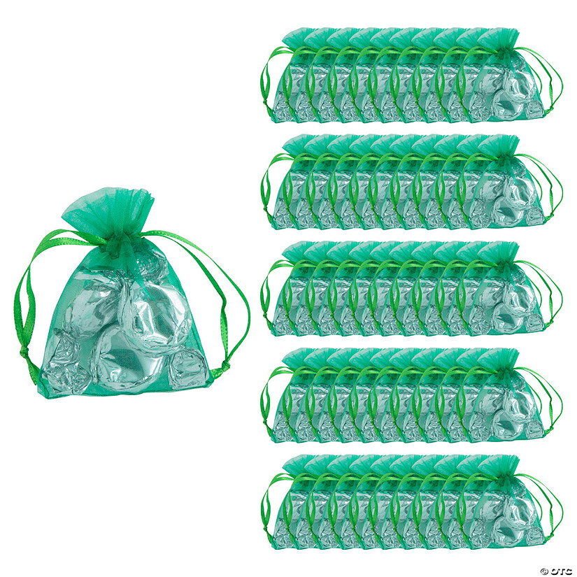 Mini Emerald Organza Drawstring Treat Bags