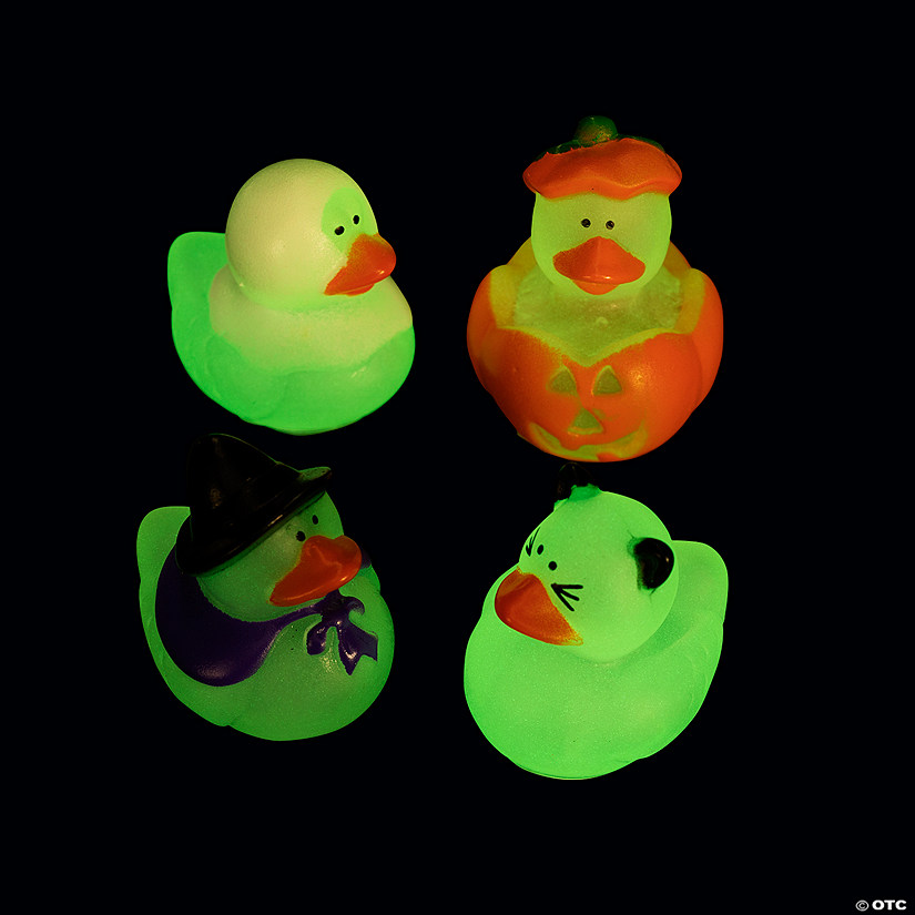 Mini Glow-in-the-Dark Halloween Rubber Duckies Image Thumbnail