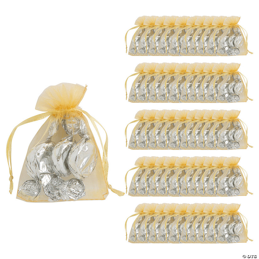 Mini Gold Organza Drawstring Treat Bags Audio Thumbnail