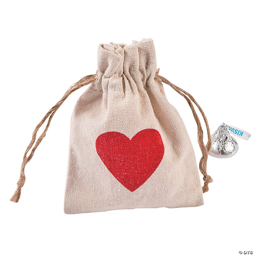 Mini Heart Canvas Drawstring Treat Bags