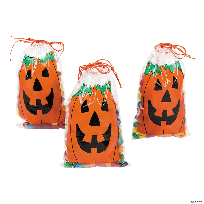 Mini Jack-O'-Lantern Drawstring Treat Bags