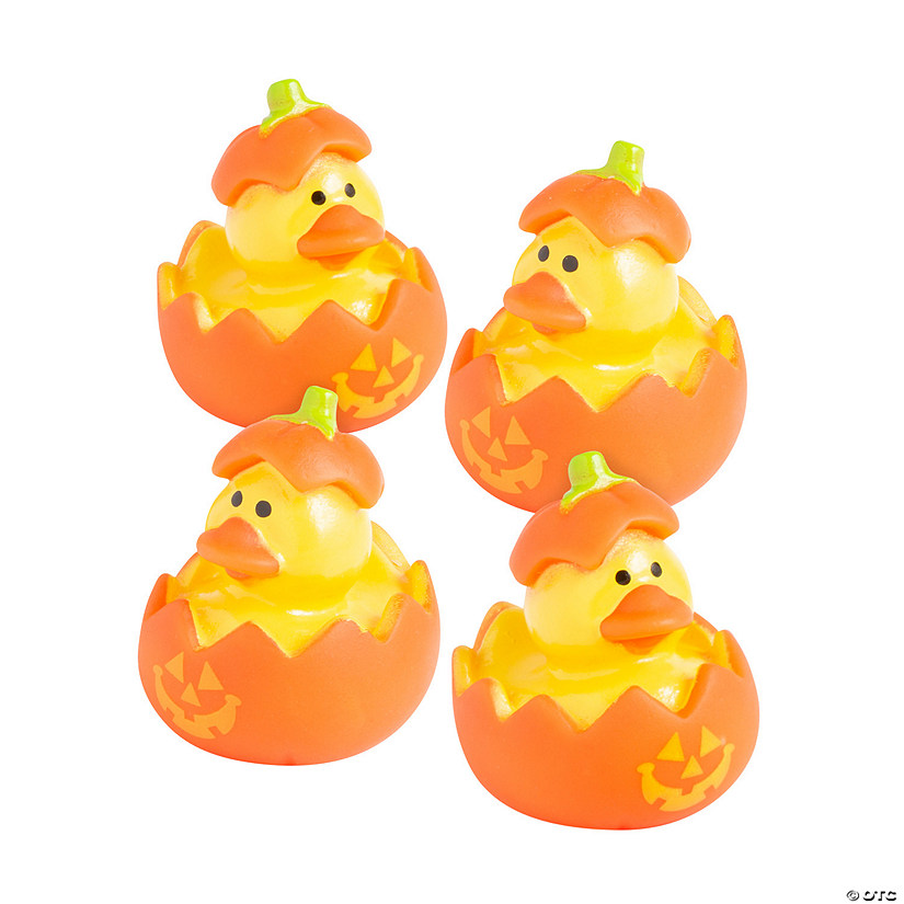 Mini Jack-O'-Lantern Rubber Duckies Image Thumbnail
