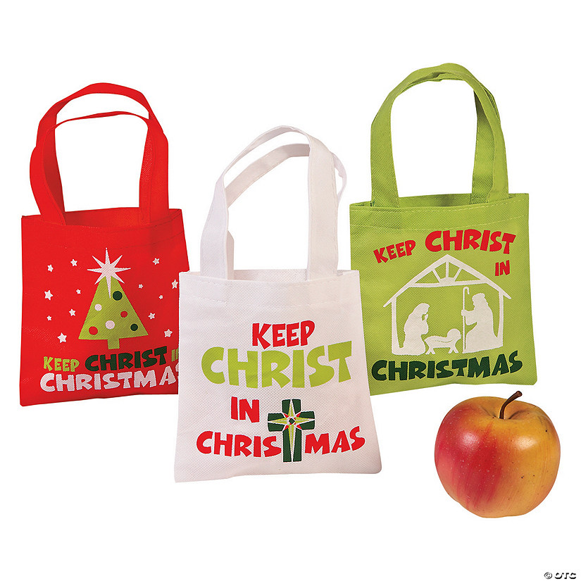 mini keep christ in christmas tote bags