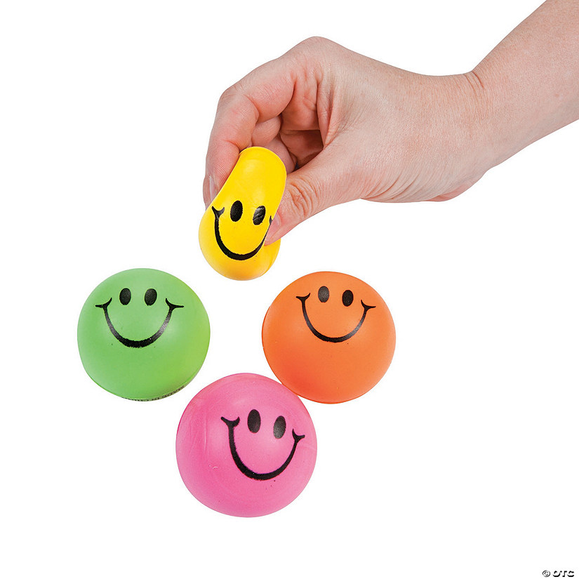 Mini Neon Smile Face Stress Balls Image Thumbnail