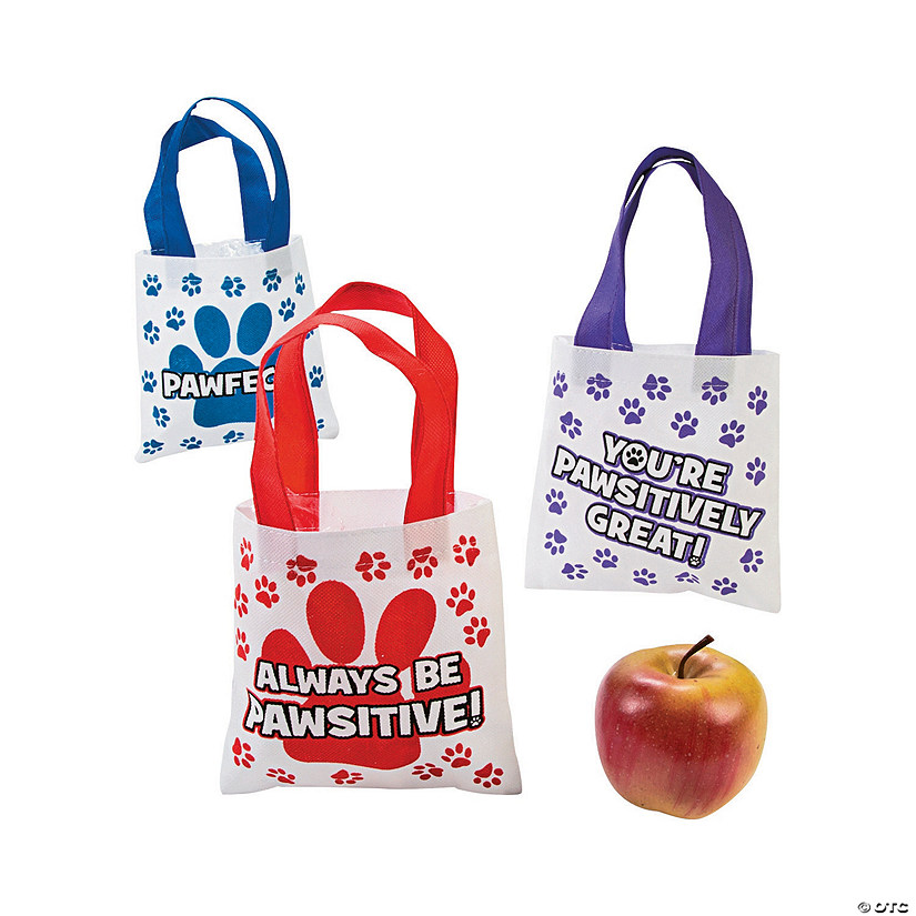 Mini Paw Print Motivational Tote Bags