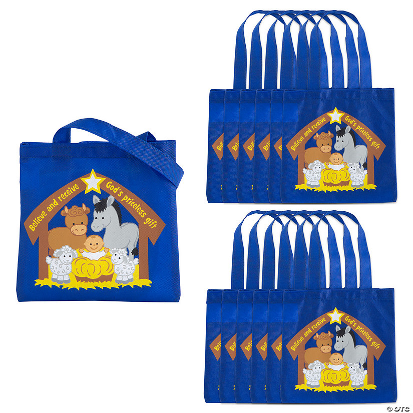 Mini Religious Nativity Animals with Baby Jesus Tote Bags Audio Thumbnail