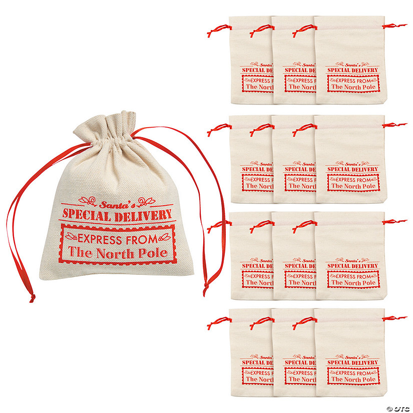 Mini Santa Canvas Drawstring Bags