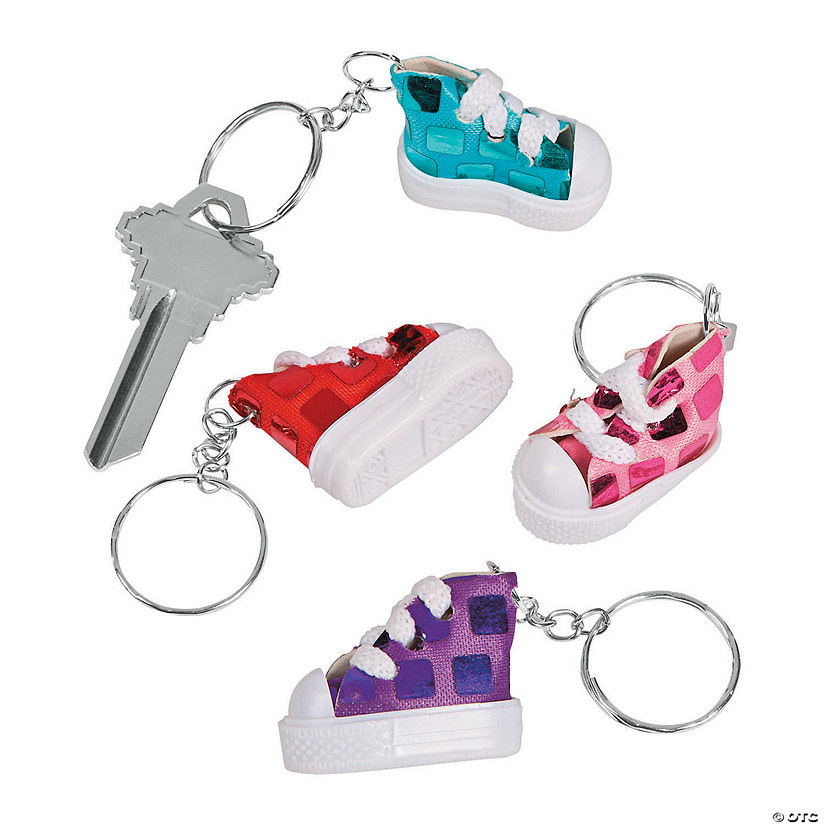 Mini Sequined Tennis Shoe Keychains
