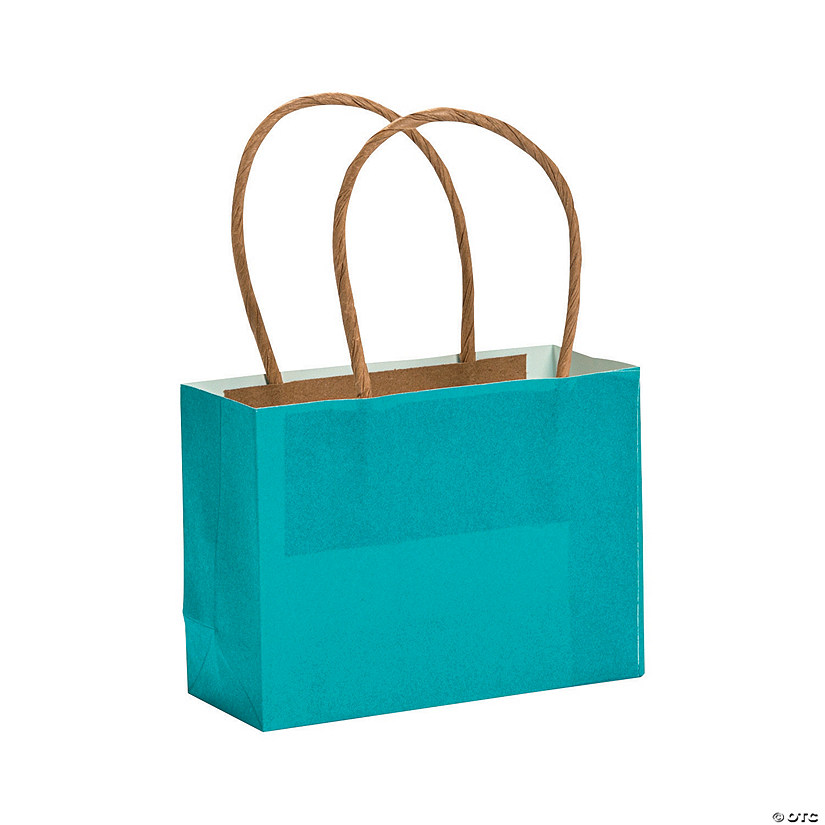 Mini Turquoise Kraft Paper Gift Bags Audio Thumbnail