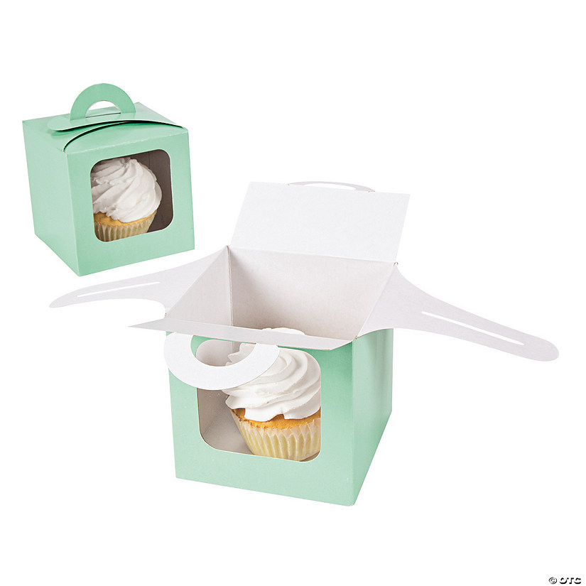 Mint Cupcake Boxes with Handle