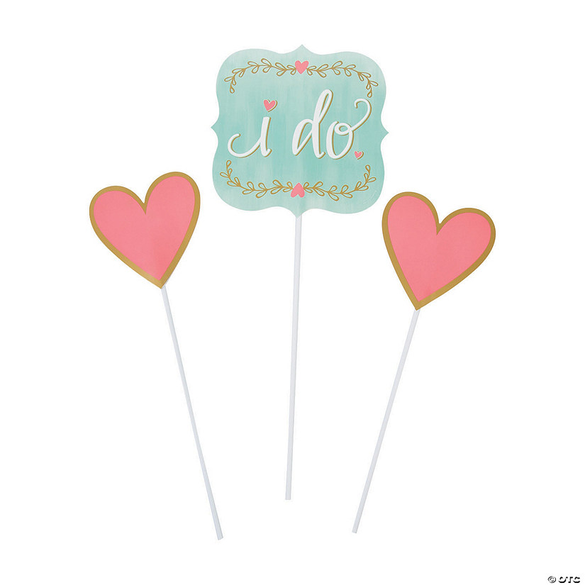 Mint Green I Do Centerpiece Sticks Set