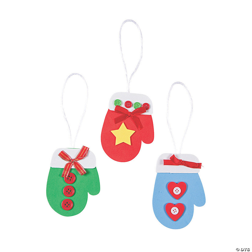 Mitten Christmas Ornament Craft Kit - 48 Pc.