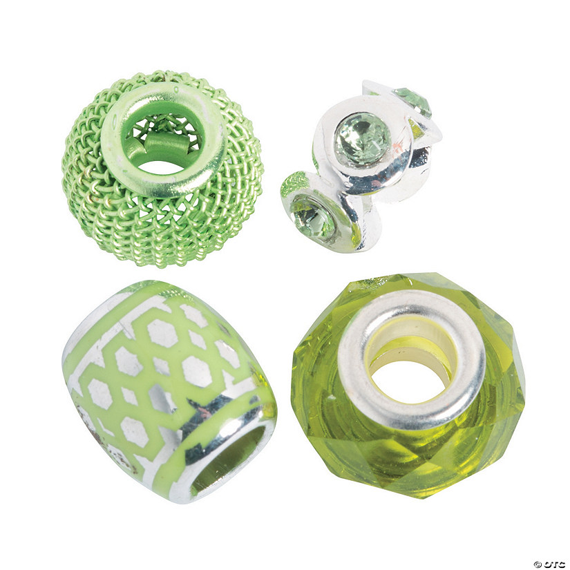 Mix & Match Lime Green Large Hole Beads