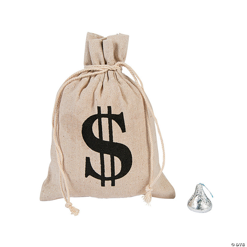 Money Burlap Drawstring Bags
