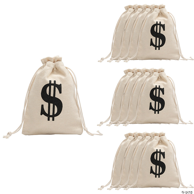 Money Burlap Drawstring Bags Image Thumbnail