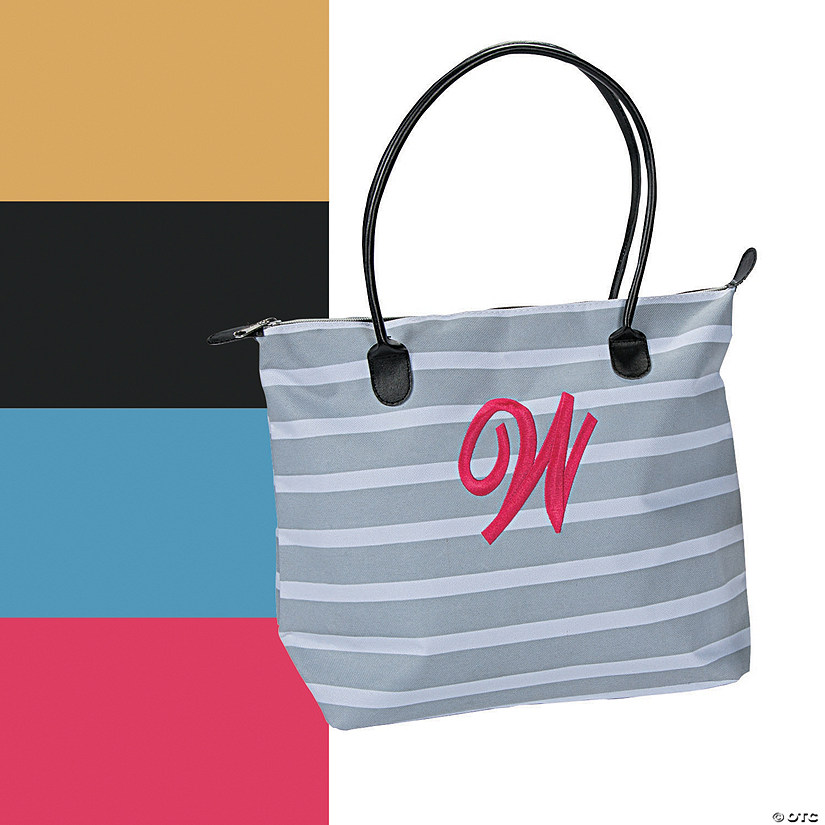 Monogrammed Striped Tote Bag Image Thumbnail