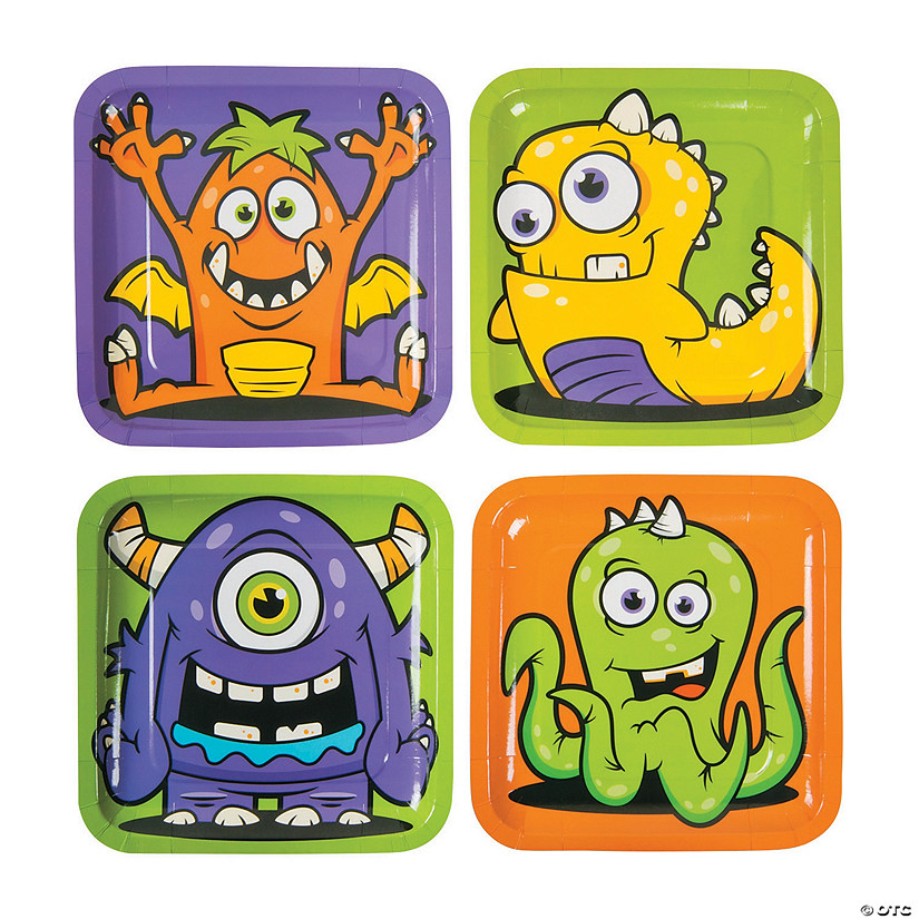 Monster Party Paper Dinner Plates - 8 Ct. Image Thumbnail