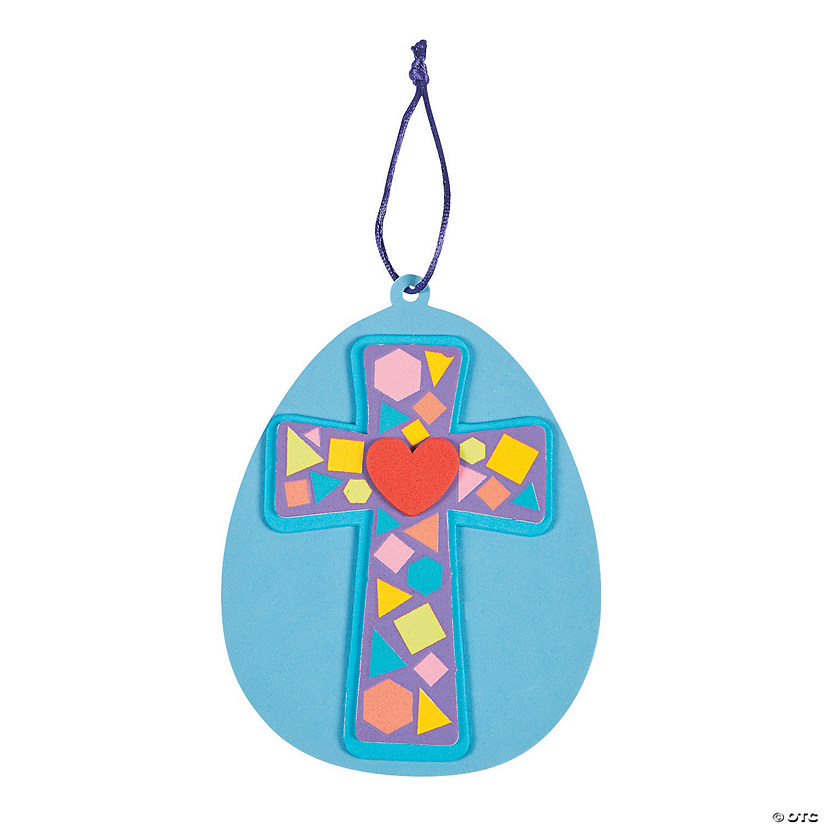 Mosaic Cross Easter Egg Ornament Craft Kit