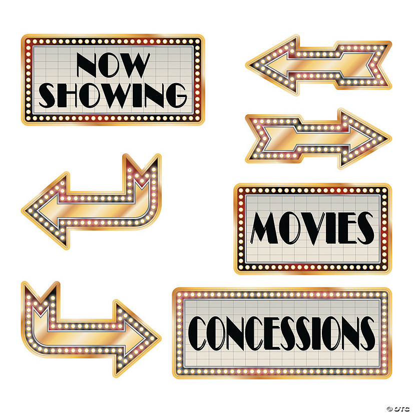 Movie Night Directional Sign Cutouts Image Thumbnail