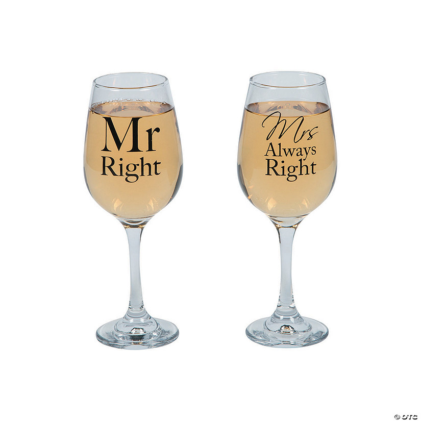 Mr. Right & Mrs. Always Right Wine Glasses Image Thumbnail