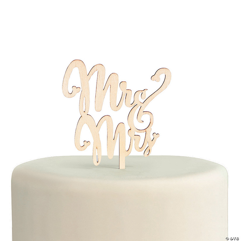Mr. & Mrs. Wooden Cake Topper