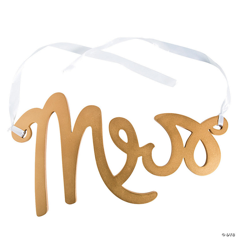Mrs. Gold Calligraphy Chair Sign