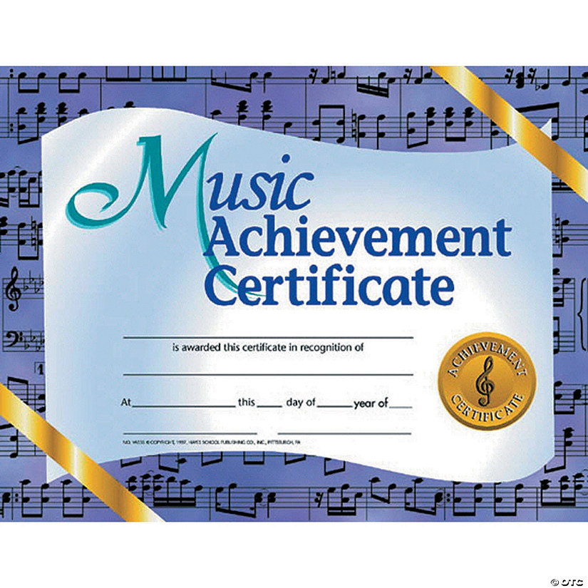 Music Achievement Certificate, 30 per Pack, 6 Packs