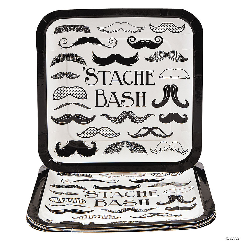 Mustache Party Paper Dinner Plates - 8 Ct. Image Thumbnail