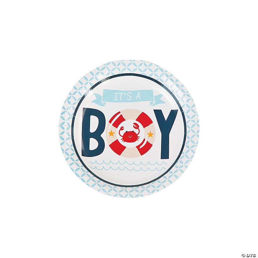 Nautical Baby Shower Paper Dessert Plates - 8 Ct. Image Thumbnail