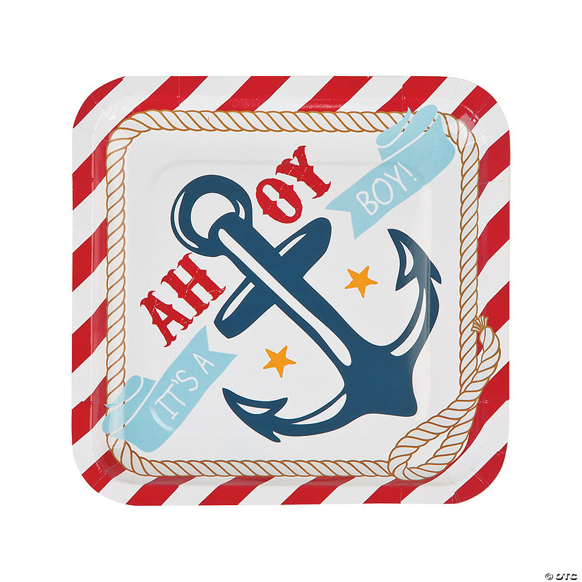 Nautical Baby Shower Paper Dinner Plates - 8 Ct. Audio Thumbnail
