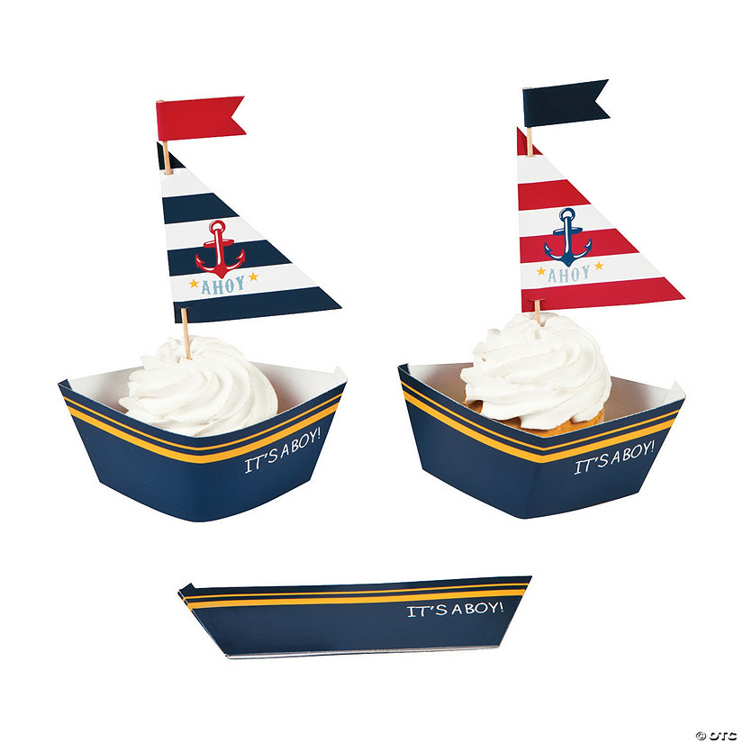 Nautical Boy Baby Shower Cupcake Wrappers with Picks Audio Thumbnail