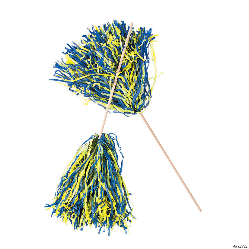 Navy Blue & Yellow Two-Tone Spirit Cheer Pom-Poms - 24 Pc. Audio Thumbnail
