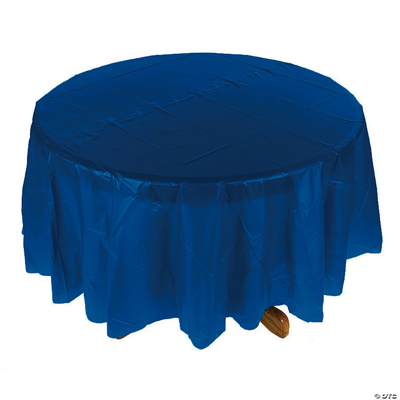Navy Blue Round Plastic Tablecloth Audio Thumbnail