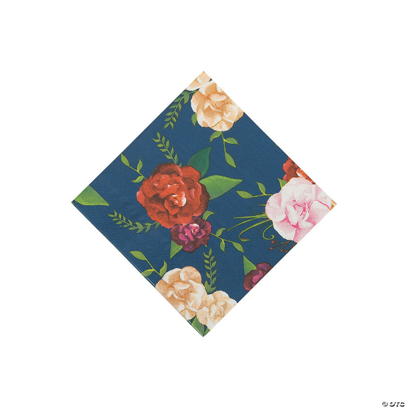 Navy Floral Beverage Napkins Audio Thumbnail