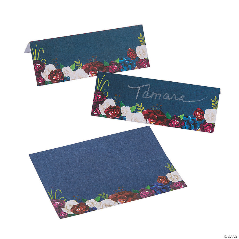 Navy Floral Place Cards Audio Thumbnail