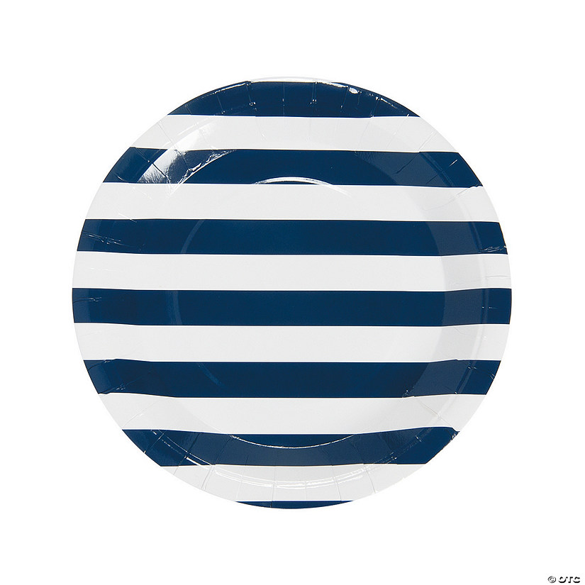 Navy Striped Paper Dinner Plates