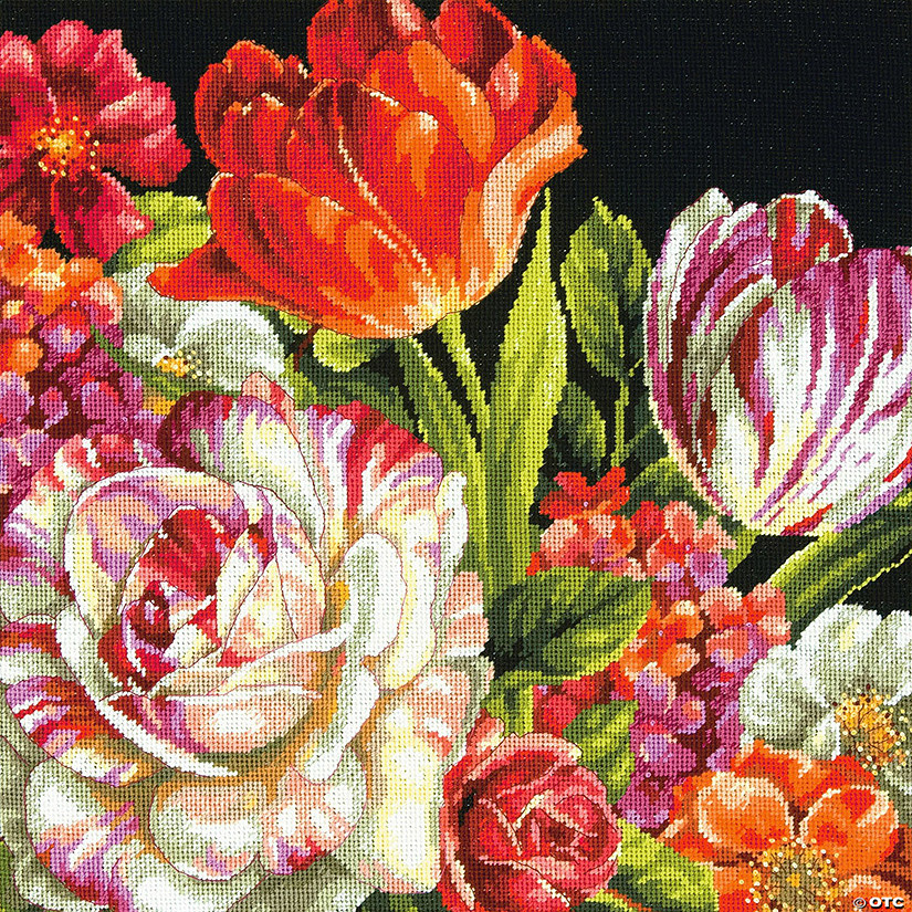 Needlepoint Kit-Bouquet On Black
