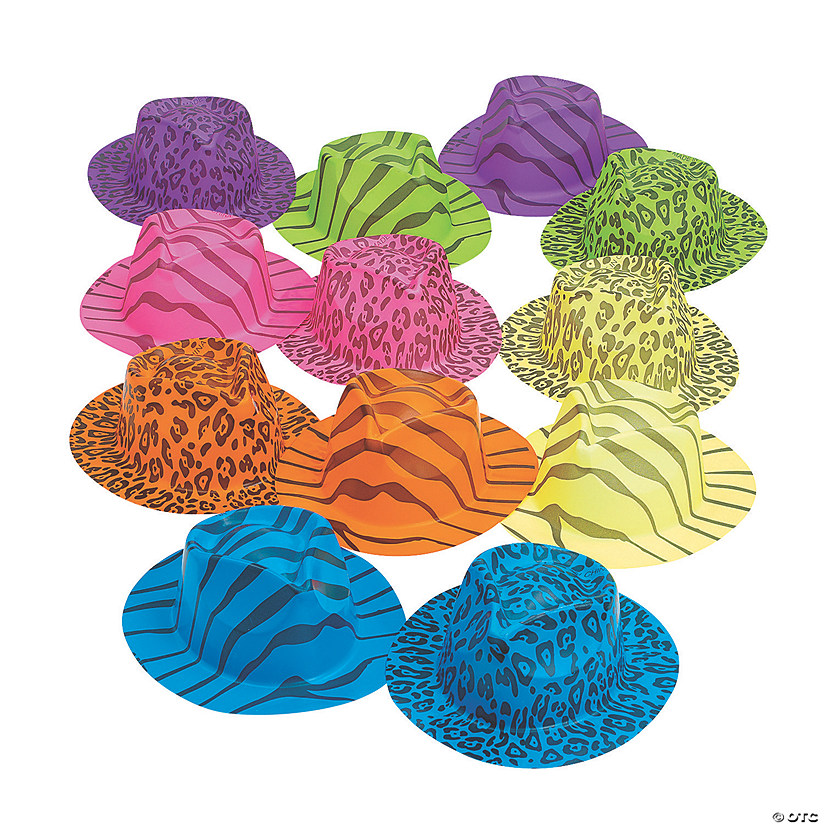 069fd31d0231e Neon Animal Print Fedora Hats Assortment