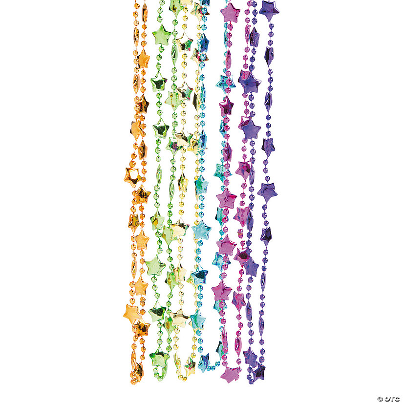 Neon Metallic Star Beaded Necklaces Image Thumbnail