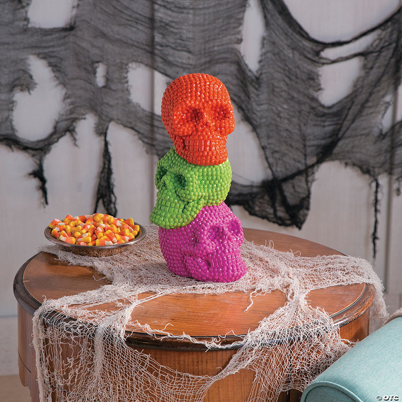 Neon Stacked Skeleton Tabletop Halloween Decorations Image Thumbnail