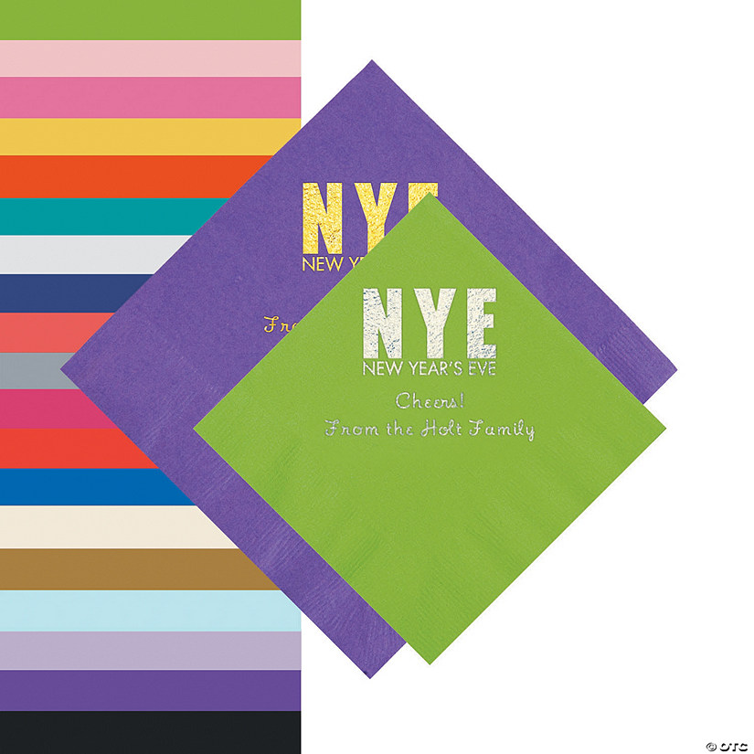 New Year's Eve Personalized Beverage or Luncheon Napkins Audio Thumbnail