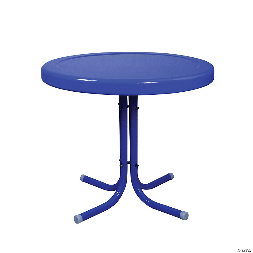 Northlight 21.75-Inch Outdoor Retro Metal Tulip Side Table  Blue Image Thumbnail
