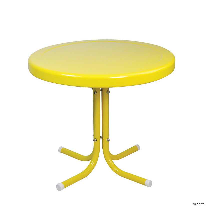Northlight 21.75-Inch Outdoor Retro Metal Tulip Side Table  Yellow Image Thumbnail