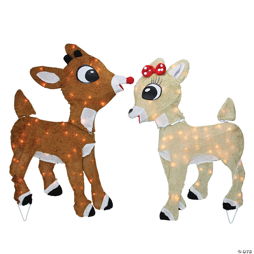 "Northlight - 32"" Brown Rudolph and Clarice Reindeer Christmas Outdoor Decor Image Thumbnail"
