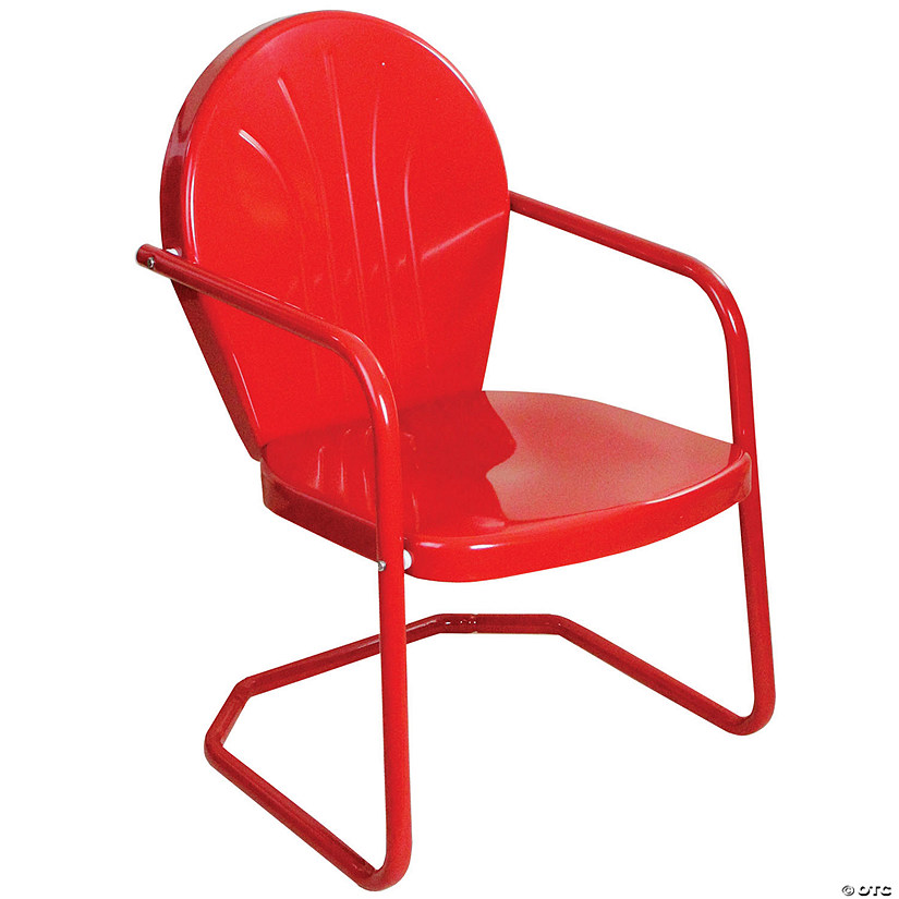 Northlight 34-Inch Outdoor Retro Tulip Armchair  Red Image Thumbnail