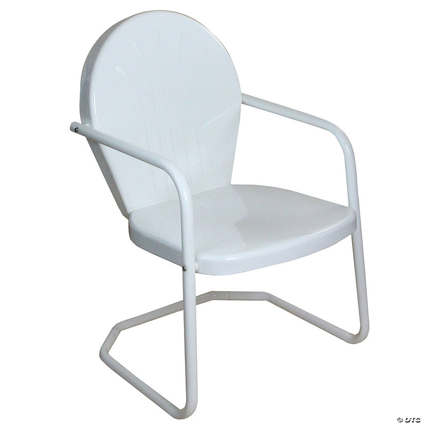 Northlight 34-Inch Outdoor Retro Tulip Armchair  White Image Thumbnail