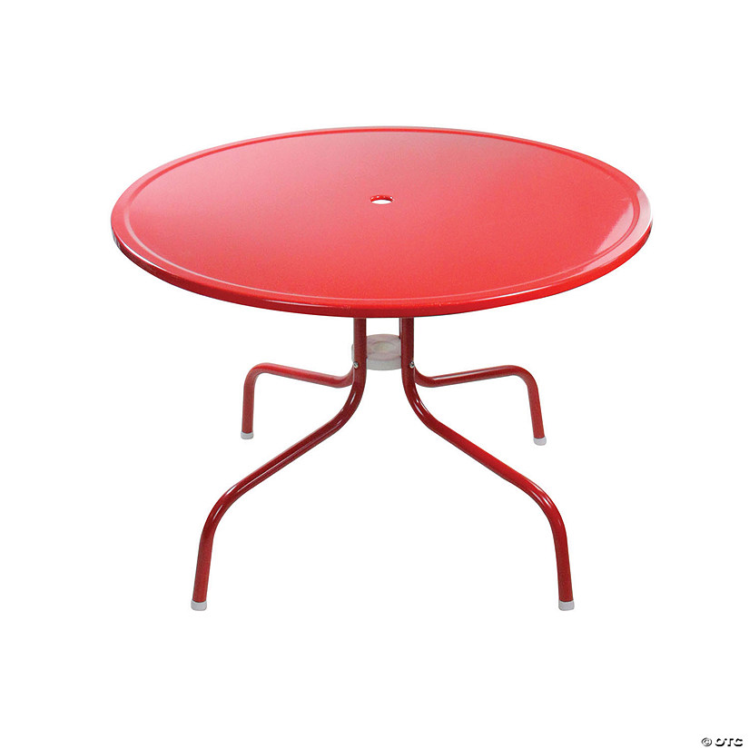 Northlight 39.25-Inch Outdoor Retro Metal Tulip Dining Table  Red Image Thumbnail