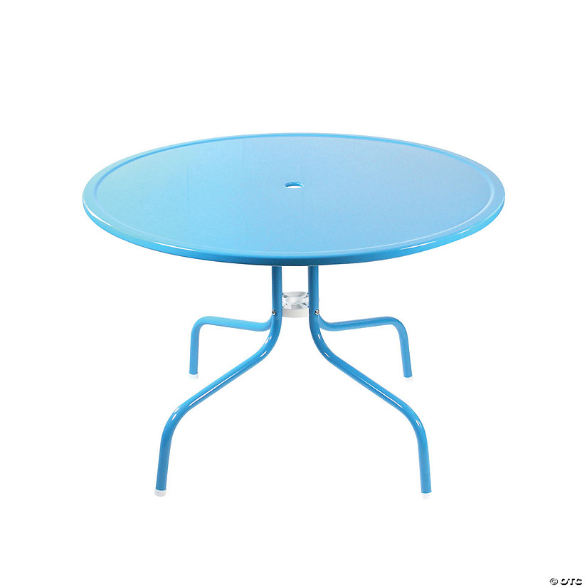 Northlight 39.25-Inch Outdoor Retro Metal Tulip Dining Table  Turquoise Blue Image Thumbnail