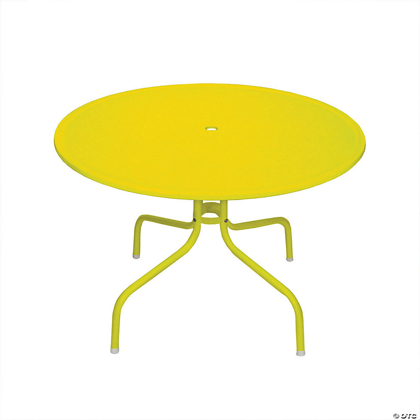 Northlight 39.25-Inch Outdoor Retro Metal Tulip Dining Table  Yellow Image Thumbnail